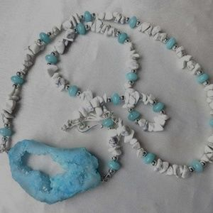 Handmade LONG white & blue crystal geode necklace